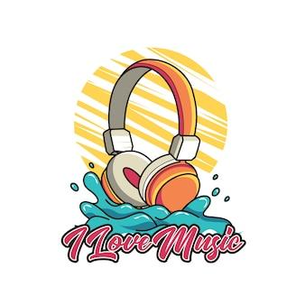 Kopfhörer mit buchstaben für t-shirt