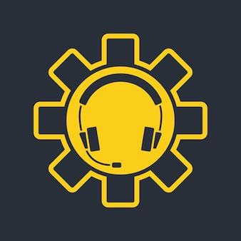 Kopfhörer mit mikrofon und support-symbol. hotline-support-service. agent-benutzer im gespräch. headset-symbol. konzept der beratung, telemarketing, unterstützung. vektorillustration isoliert