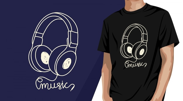 Kopfhörer musik t-shirt design