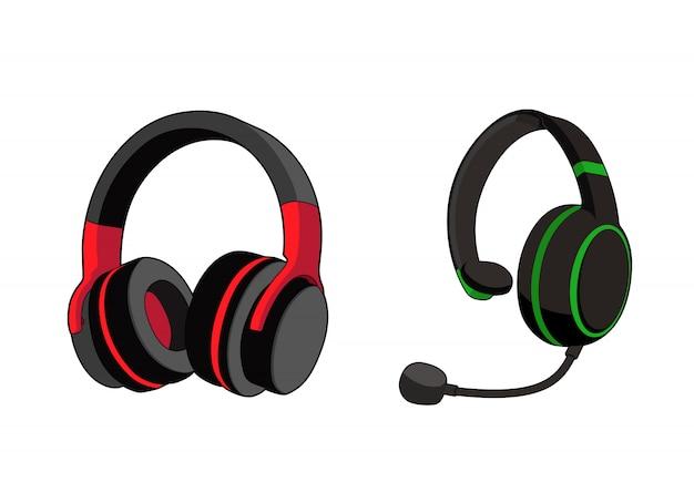 Kopfhörer stereo. kundendienst oder gamer-headset. kopfhörer mit mikrofon. vektorgrafikillustration. isolierter weißer hintergrund