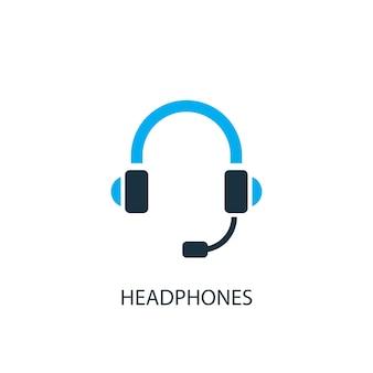 Kopfhörer-symbol. logo-element-abbildung. kopfhörer-symbol-design aus 2-farbiger kollektion. einfaches kopfhörerkonzept. kann im web und mobil verwendet werden.