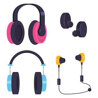 Kopfhörer- und kopfhörervektorkarikatursatz lokalisiert auf weißem hintergrund.