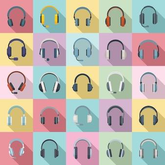 Kopfhörerikonen stellten flachen vektor ein. audio-zubehör. kabel-headset