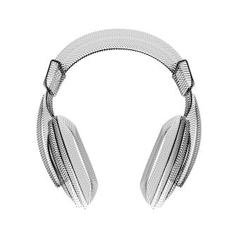 Kopfhörersilhouette bestehend aus schwarzen punkten und partikeln. 3d-vektor-drahtmodell eines audiogeräts mit einer körnungsstruktur. abstraktes geometrisches symbol mit gepunkteter struktur auf weißem hintergrund