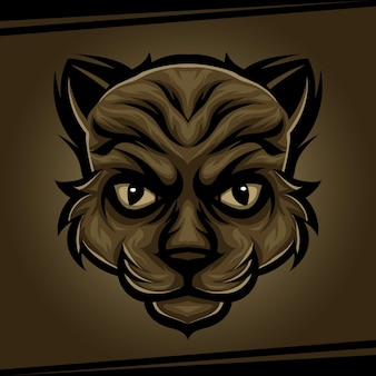 Kopfkatzentiermaskottchen für sport- und esportlogovektorillustration Premium Vektoren