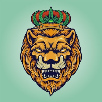 Kopflöwe mit cannabis-krone-logo-unternehmen
