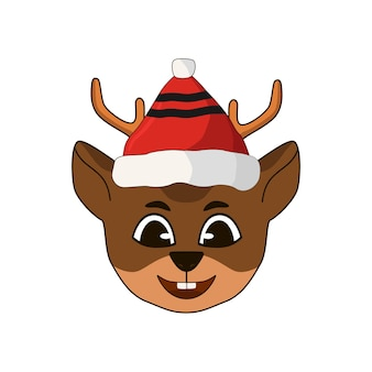 Kopfregenhirsch mit weihnachtsmannmütze