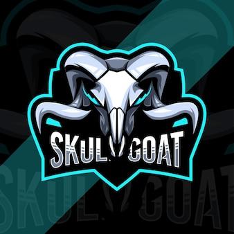 Kopfschädel ziege maskottchen logo esport vorlage design