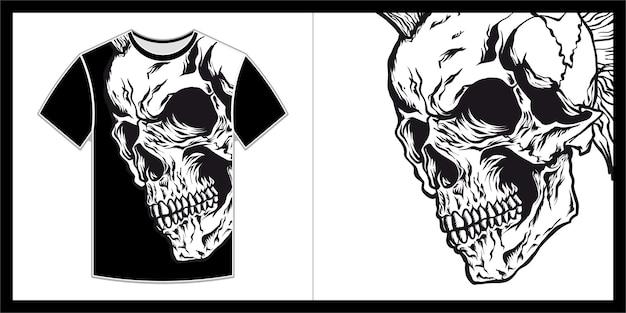 Kopfschädelillustration für t-shirt-design