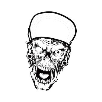 Kopfskelett mit mütze handzeichnung illustration