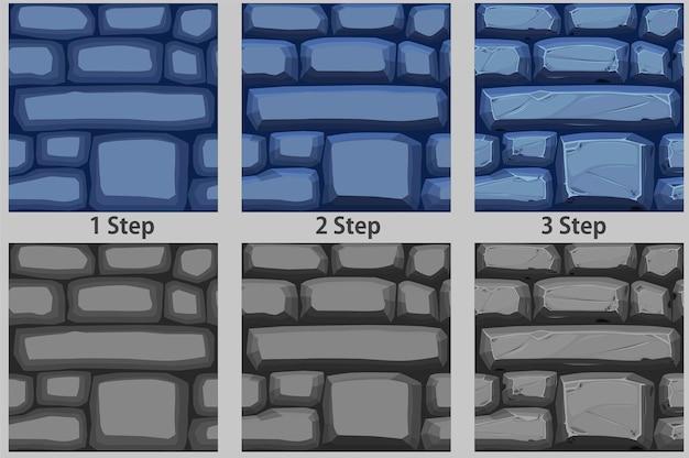 Kopfsteinpflaster nahtlose muster, schritt für schritt textur pflasterstein für tapeten zeichnen.
