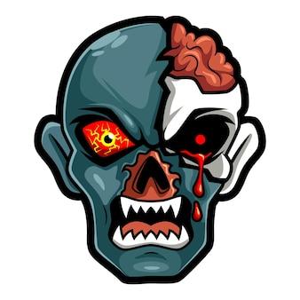 Kopfzombie beängstigend wütend, maskottchen-esport-logo-vektor-illustration