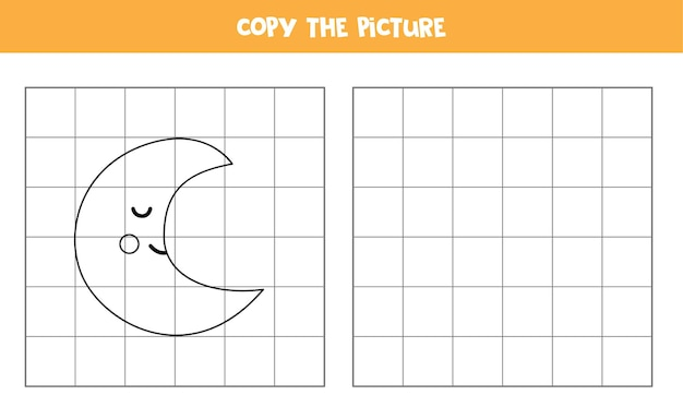 Kopieren sie das bild des niedlichen cartoon-mondes. lernspiel für kinder. handschriftpraxis.