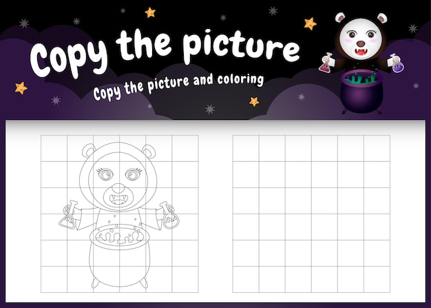 Kopieren sie das bild kinderspiel und die malvorlage mit einem süßen eisbären im halloween-kostüm