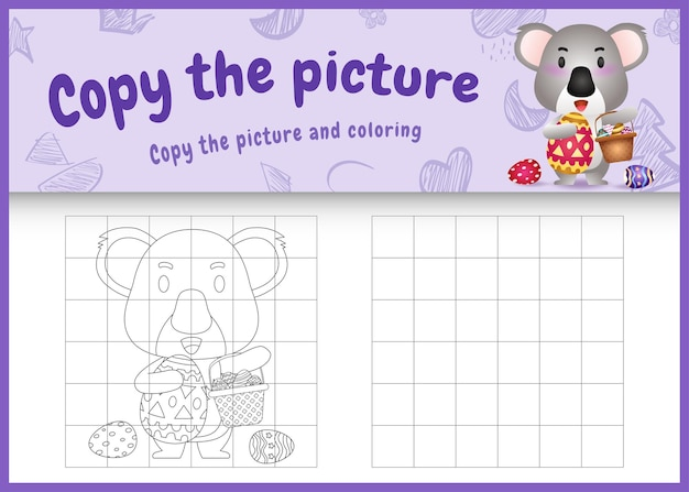 Kopieren sie das bild kinderspiel und malvorlagen ostern mit einem niedlichen koala, der das eimerei und das osterei hält