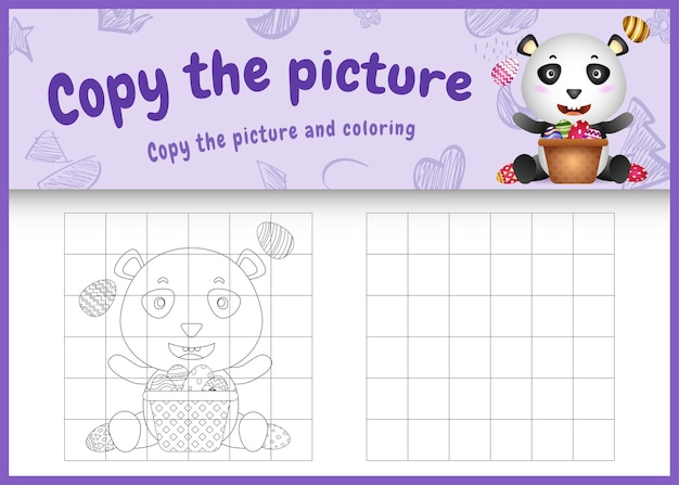 Kopieren sie das bild kinderspiel und malvorlagen ostern mit einem niedlichen panda und eimer ei