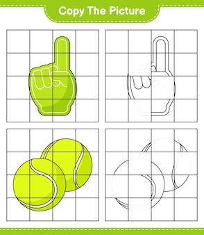 Kopieren sie das bild, kopieren sie das bild von foam finger und tennisball mit rasterlinien. pädagogisches kinderspiel, druckbares arbeitsblatt, vektorillustration