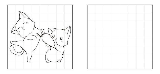 Kopieren sie das bild von katzen und karotten-cartoon