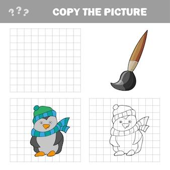 Kopieren sie das bilder- und malbuch, lernspiel für kinder - pinguin