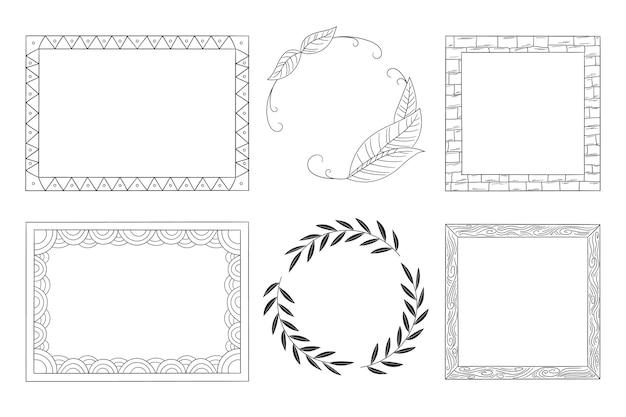 Kopieren sie die handgezeichnete sammlung des ornamentrahmens des raums