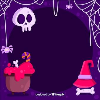 Kopieren sie raum halloween-rahmen mit hexerei