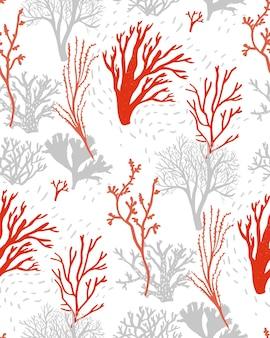 Korallenriff und algenmuster nahtlose textur mit zeichnungen des unterwasserlebens rot und grau