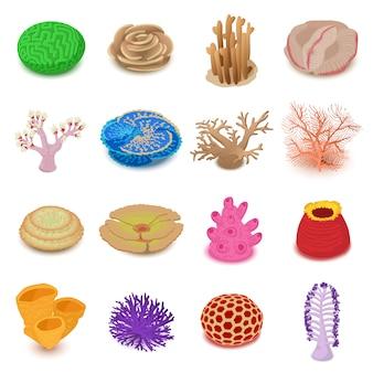 Korallenriffikonen eingestellt. isometrische illustration von 16 korallenriffvektorikonen für netz