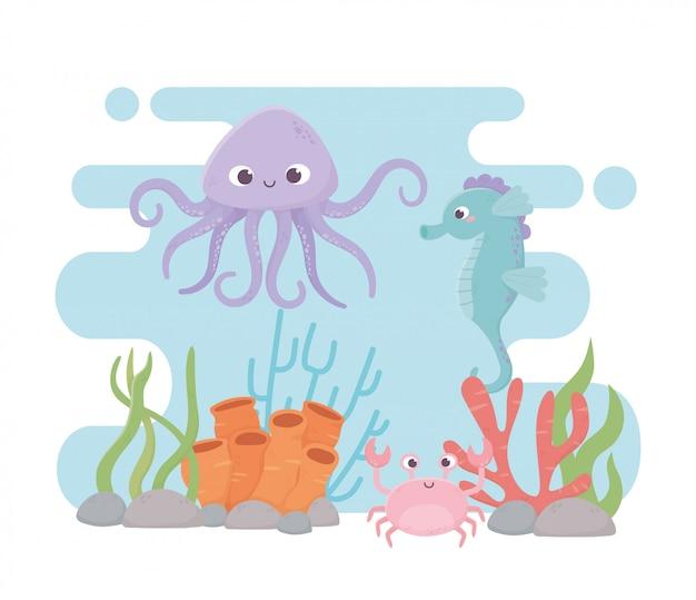 Korallenriffkarikatur des krakenseepferdchenkrabbenlebens unter dem meer