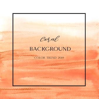 Korallenrote farbe modisches muschelaquarell und goldgouache masern hintergrund