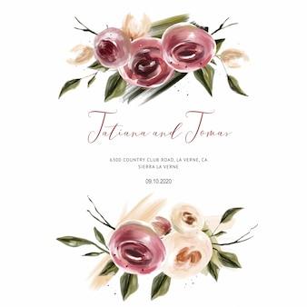 Korallenrote rosen, die einladung für hochzeitskarten, save the date und blätter wedding sind