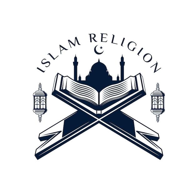 Koran- oder koranikone mit dem heiligen buch der muslimischen religionsgebete