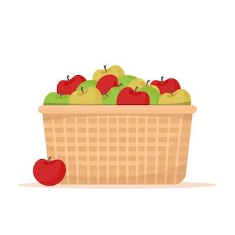 Korb mit äpfeln. bauernmarktkonzept. illustration im flachen stil, lokalisiert auf weißem hintergrund