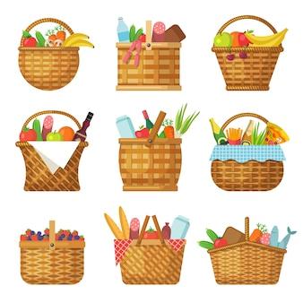 Korb mit produkten. handgefertigter picknickkorb mit verschiedenen lebensmittelgemüse-fruchtvektorkörben. picknickprodukt, korb mit griff, traditionelle outdoor-accessoire-illustration