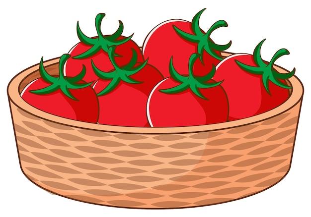 Korb mit tomaten auf weißem hintergrund