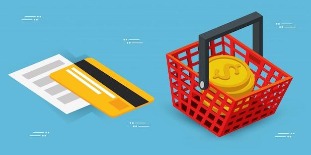 Korbeinkaufen mit kreditkarten- und stapelmünzen