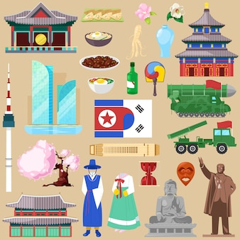 Korea koreanisches traditionelles kultursymbol des südkorea- oder nordkorea-landillustrationstourismus