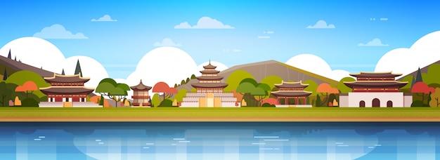 Korea-paläste auf fluss-landschaftssüdkoreanischer tempel über der gebirgsberühmten asiatischen grenzstein-ansicht horizontal