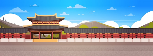 Korea-palast-landschaftssüdkoreanischer tempel über der gebirgsberühmten asiatischen markstein-ansicht horizontal