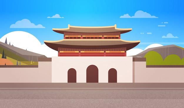 Korea-tempel-landschaftssüdkoreanischer palast über gebirgsberühmter asiatischer markstein-ansicht