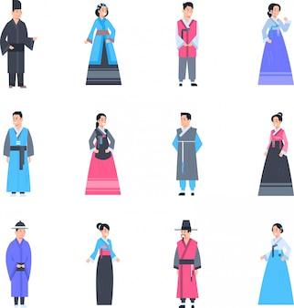 Korea-traditionelle kleidung stellte von den frauen und von männern ein, die altes kostüm lokalisierte asiatische kleidersammlung tragen