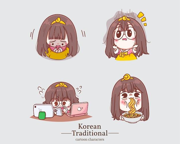 Koreanische charaktere von niedlichen mädchen in traditionellen koreanischen hanbokkleid-cartoons. set illustration