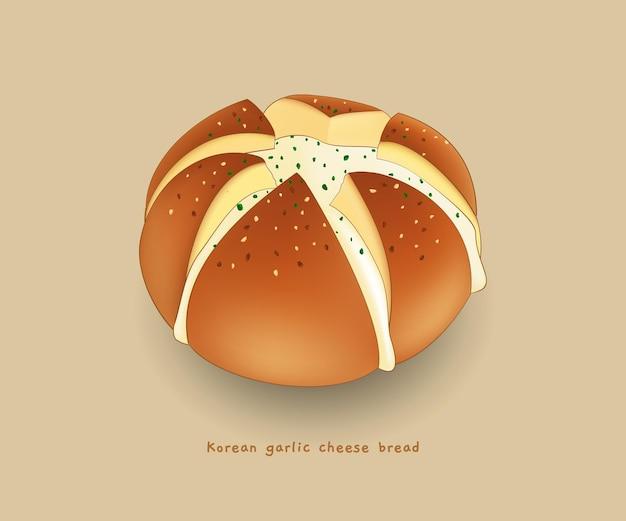Koreanische knoblauch-käse-brot-cartoon-illustration
