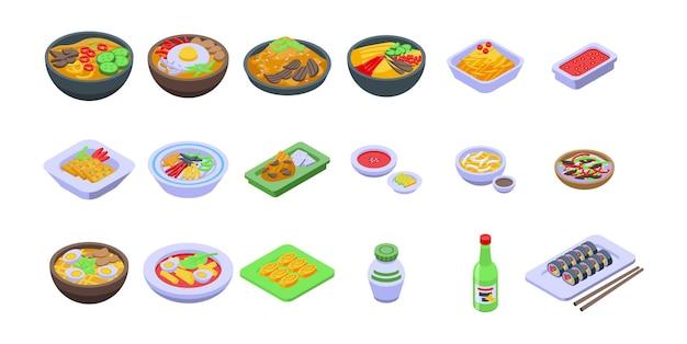 Koreanische küche symbole gesetzt. isometrischer satz koreanischer küchevektorikonen für das webdesign lokalisiert auf weißem hintergrund