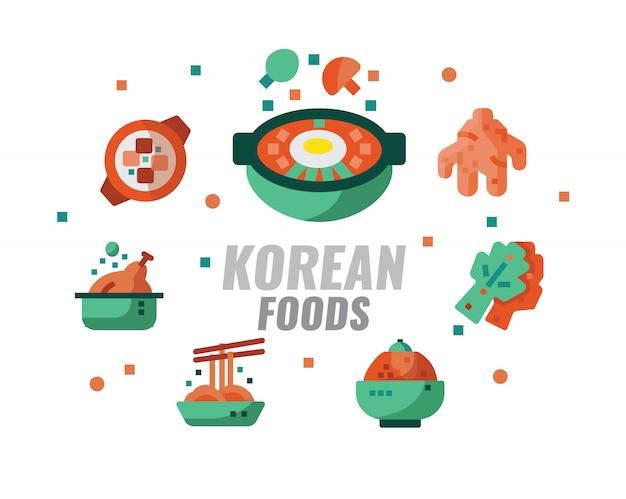 Koreanische lebensmittel, küche, rezepte banner. vektor-illustration