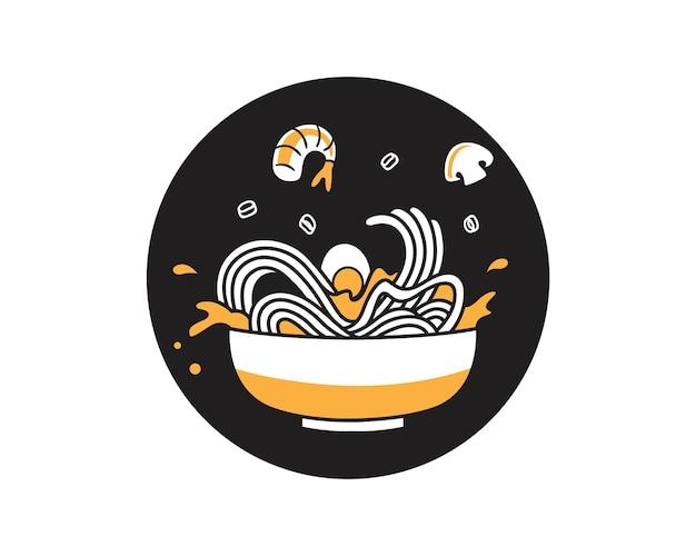Koreanische nudelsuppe mit meeresfrüchten
