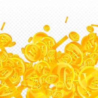Koreanische won-münzen fallen hervorragend verstreute won-münzen korea-geld positiver jackpot-reichtum oder erfolg ...