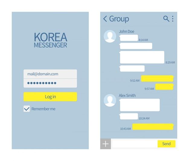 Koreanischer messenger. kakao-gesprächsschnittstelle mit chatboxen und ikonen vector mitteilungsschablone