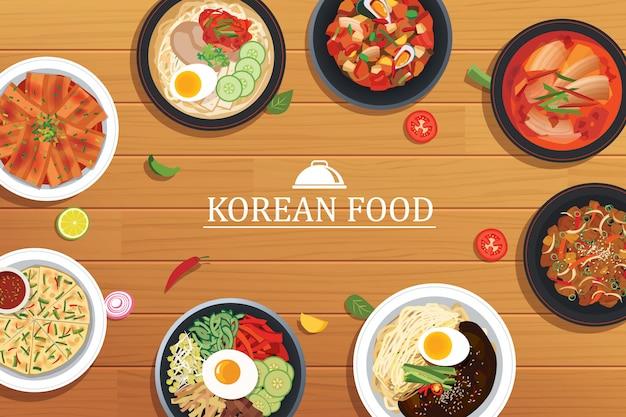 Koreanisches essen auf einem holztisch