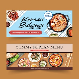 Koreanisches lebensmittel-bannerdesign mit ramen, ttoekbokki, beilagenaquarellillustration
