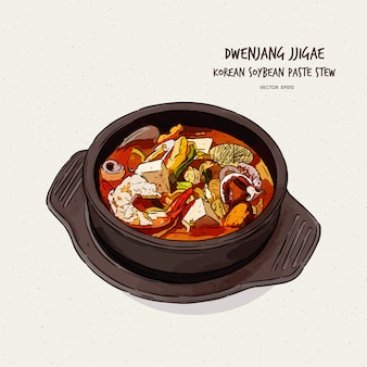 Koreas repräsentatives essen, sojabohnenpasteneintopf (doenjang jjigae), handzeichnung skizze.